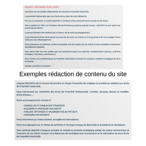 Exemple rédaction de contenu du site aquinov