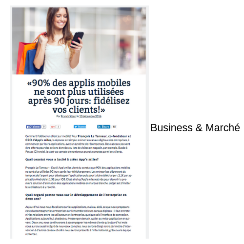 article Business & Marché app's miles