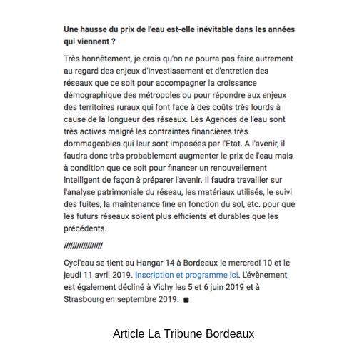 article La Tribune bordeaux cycl'eau 2