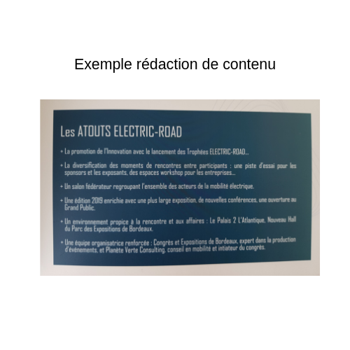 Exemple rédaction de contenu electric road