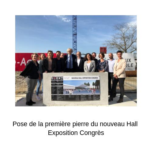 photo de la pose de la première pierre du nouveau Hall Exposition Congrès
