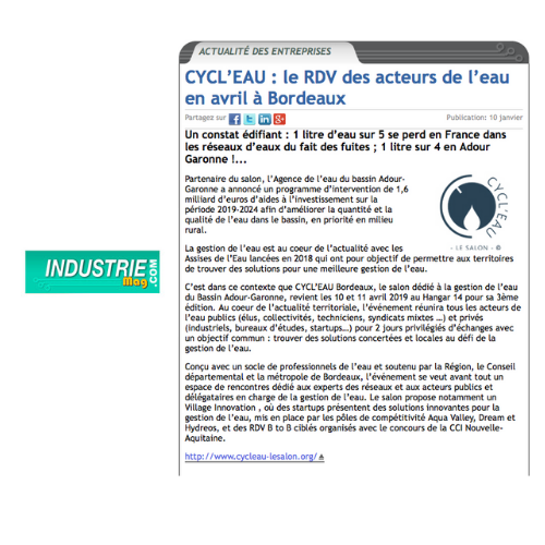 article industrie mag cycl'eau
