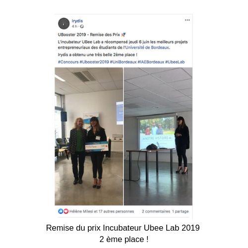 Irydis -Remise du prix Incubateur Ubee Lab 2019